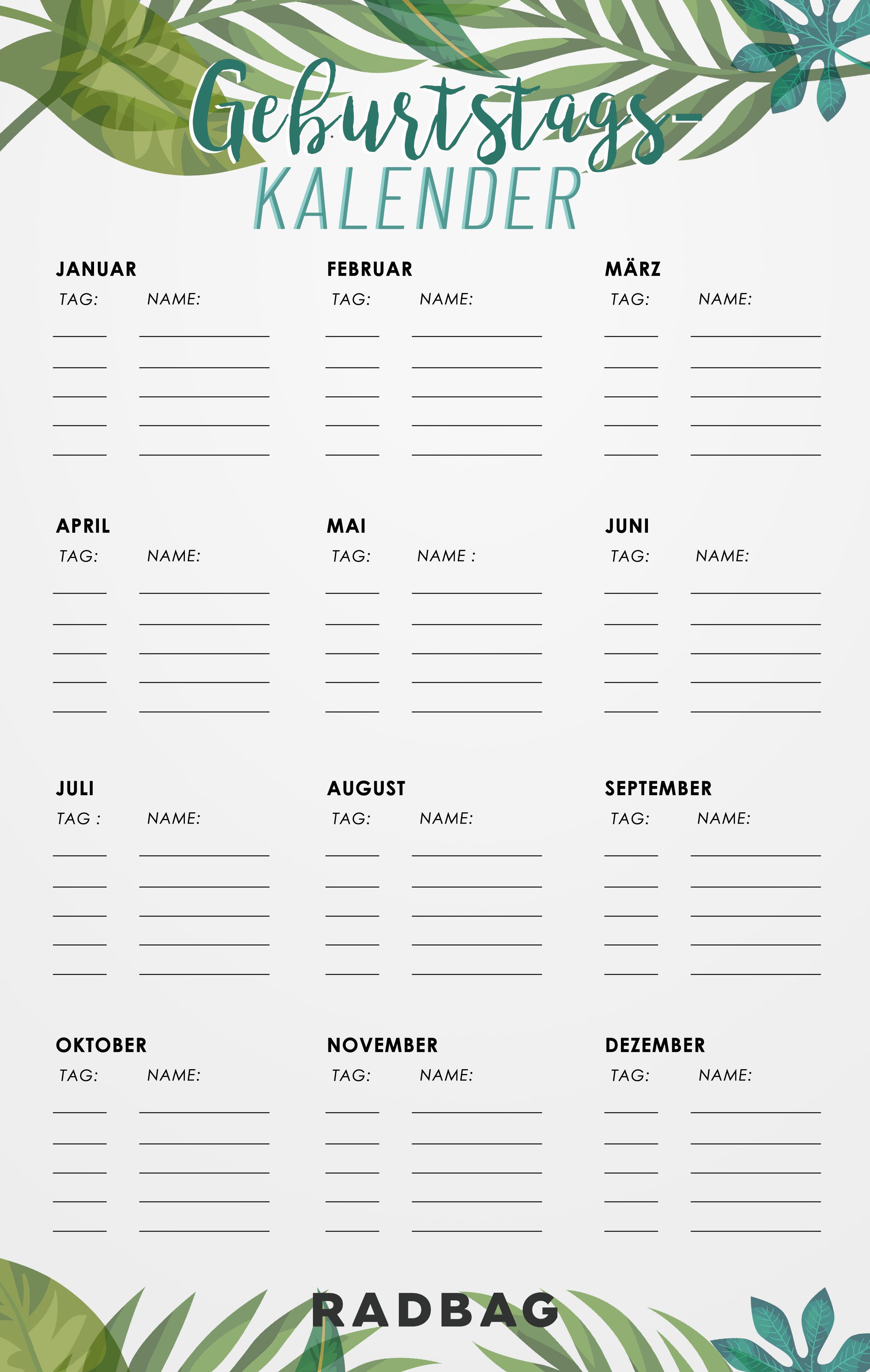 Geburtstagskalender zum Ausdrucken (Free Printable)