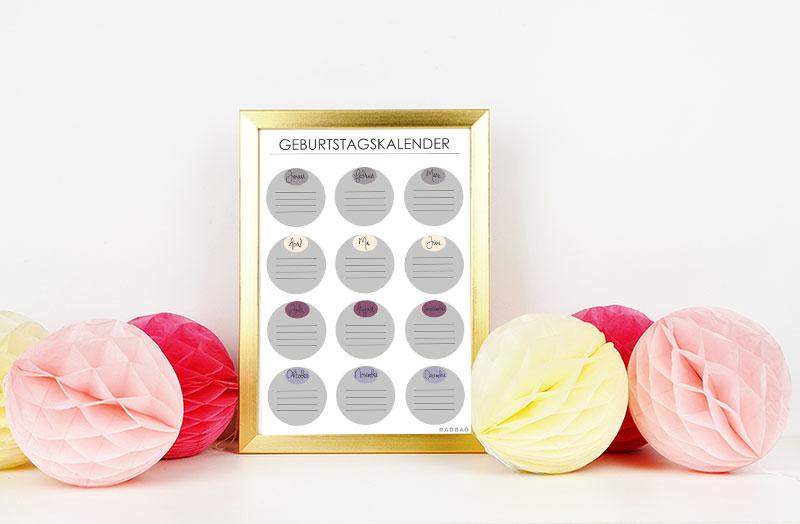 Geburtstagskalender Zum Ausdrucken Free Printable