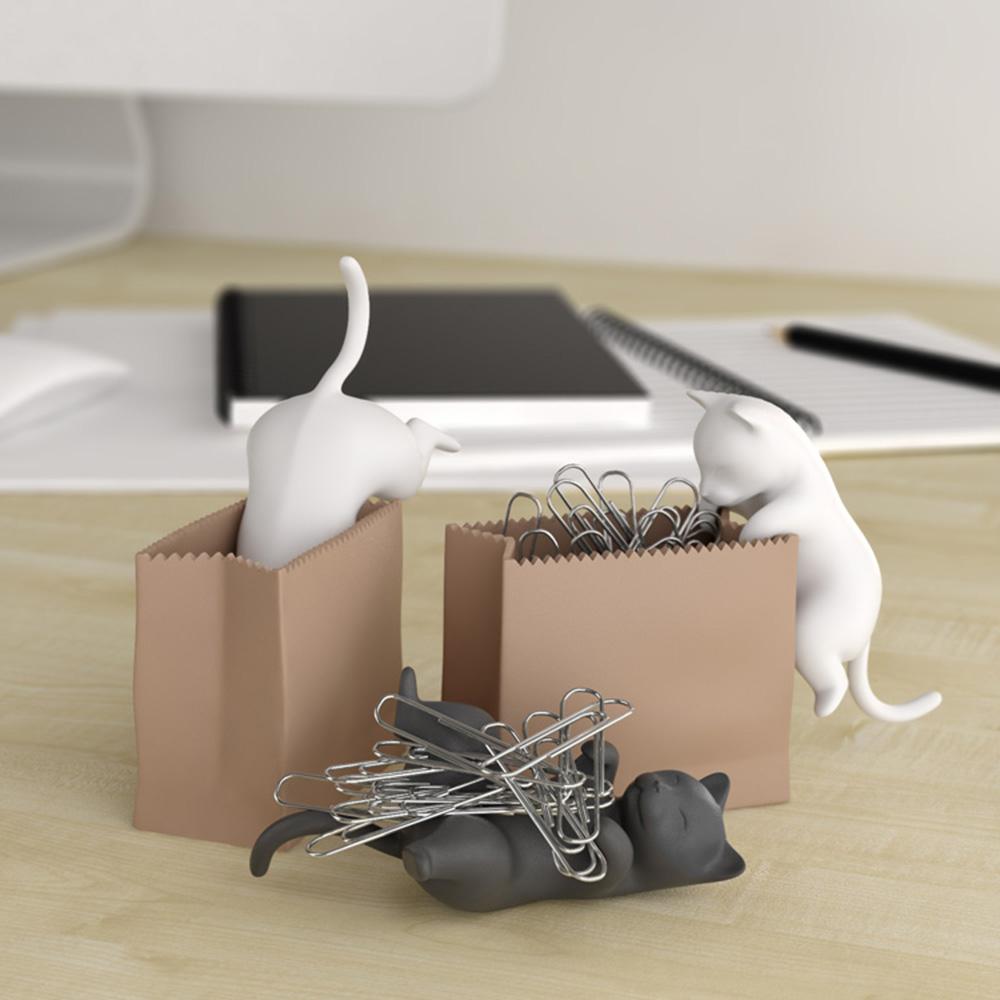 büro gadgets büroklammer spender katze im sack