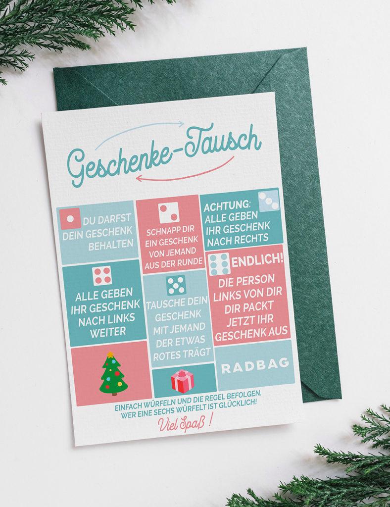 Weihnachtsspiele kostenlos zum Ausdrucken der große Geschenketausch zum Wichteln