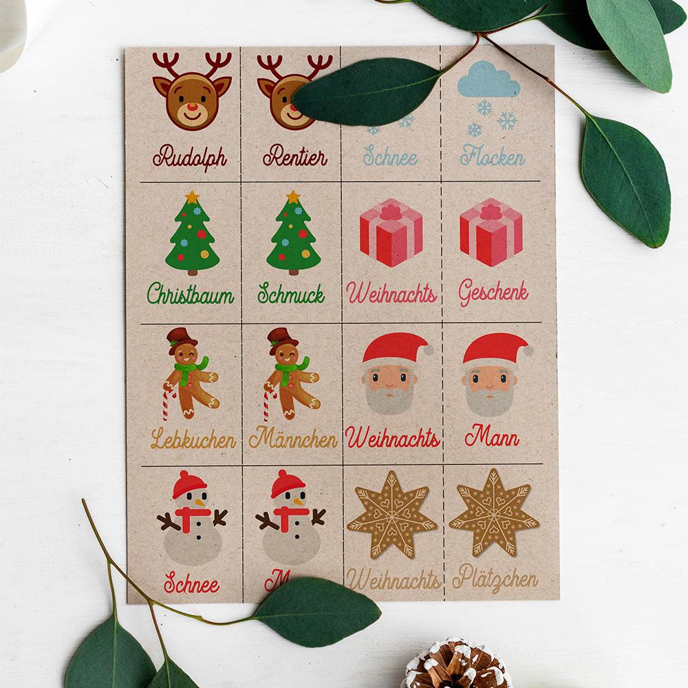 Weihnachtsspiele kostenlos zum Ausdrucken Kinder weihnachtsmemory zum ausdrucken