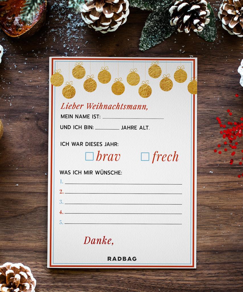 WUnschzettel zu Weihnachten Wunschliste Printable
