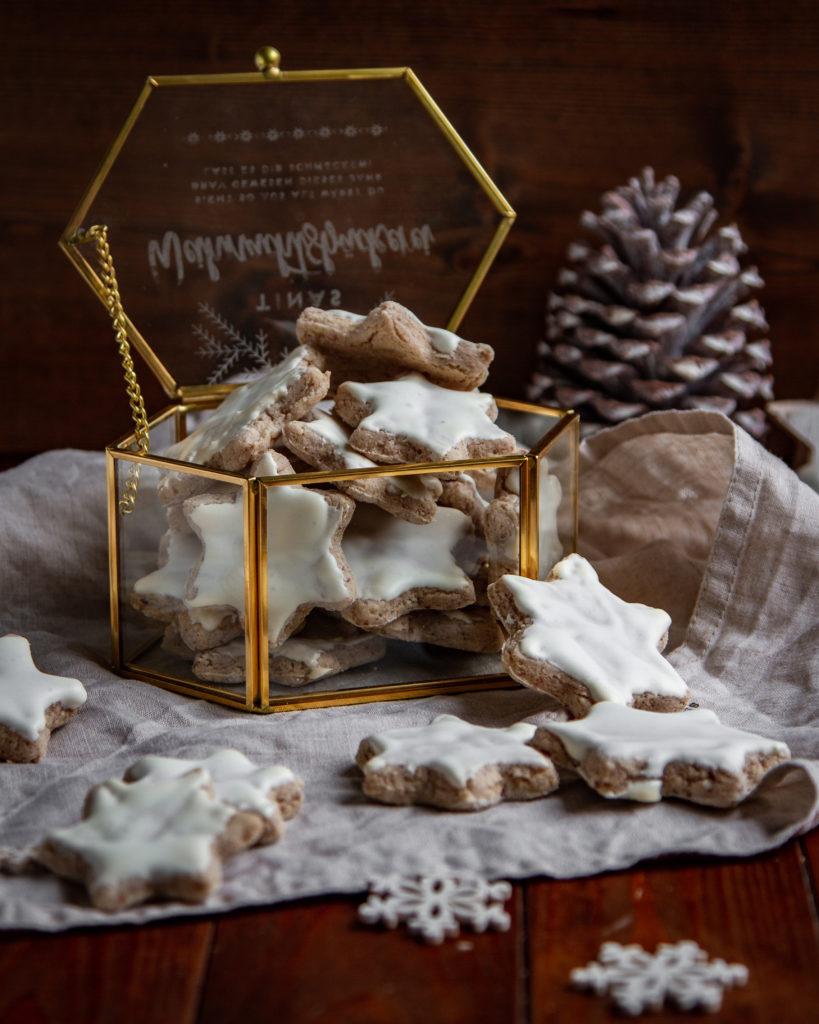 Weihnachtsgeschenke aus der Küche Zimtsterne in der Glasbox