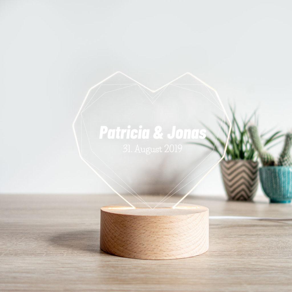 Valentinstag Geschenke personalisierte LED Lampe