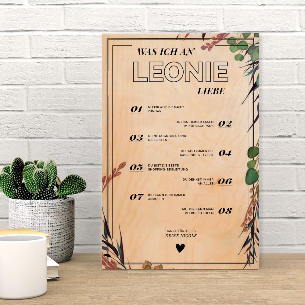 Valentinstag Geschenke personalisierbares Holzbild