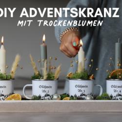 Adventskranz selber machen Trockenblumen Adventskranz DIY