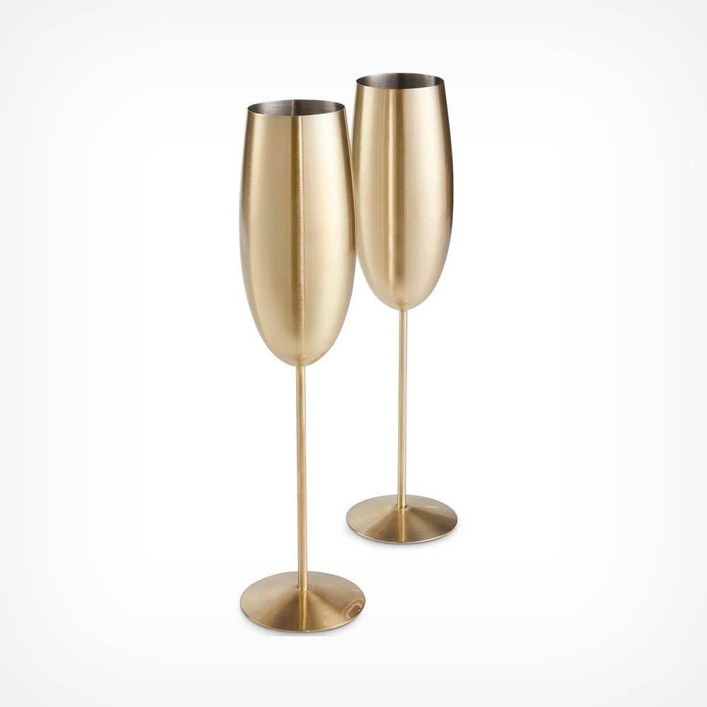 Goldige Champagnerflöten 2er-Set