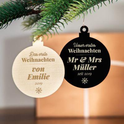 Weihnachtsschmuck mit Text