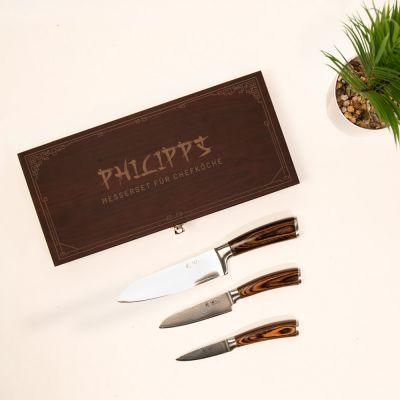 Weihnachtsgeschenke für Männer Damastmesser Set in Holzbox mit Text