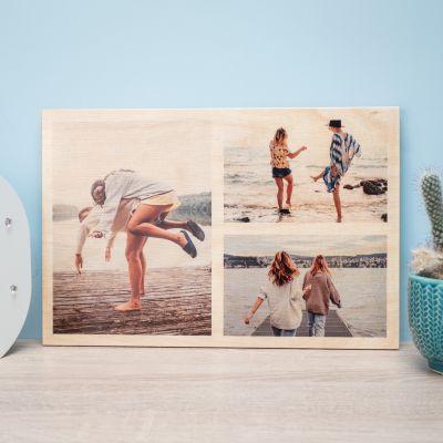 Personalisierbares Foto Holzbild mit 3 Bildern