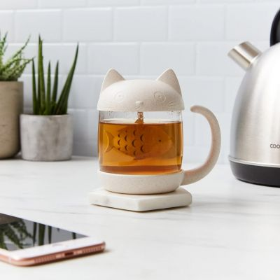 Katzen Teeglas mit Fisch Tee-Ei