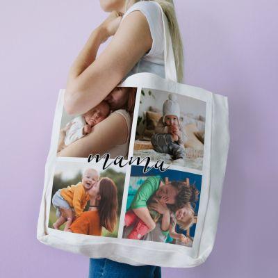 Tasche mit 4 Bildern und Text