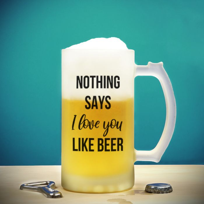 Bierkrug mit 4 Zeilen