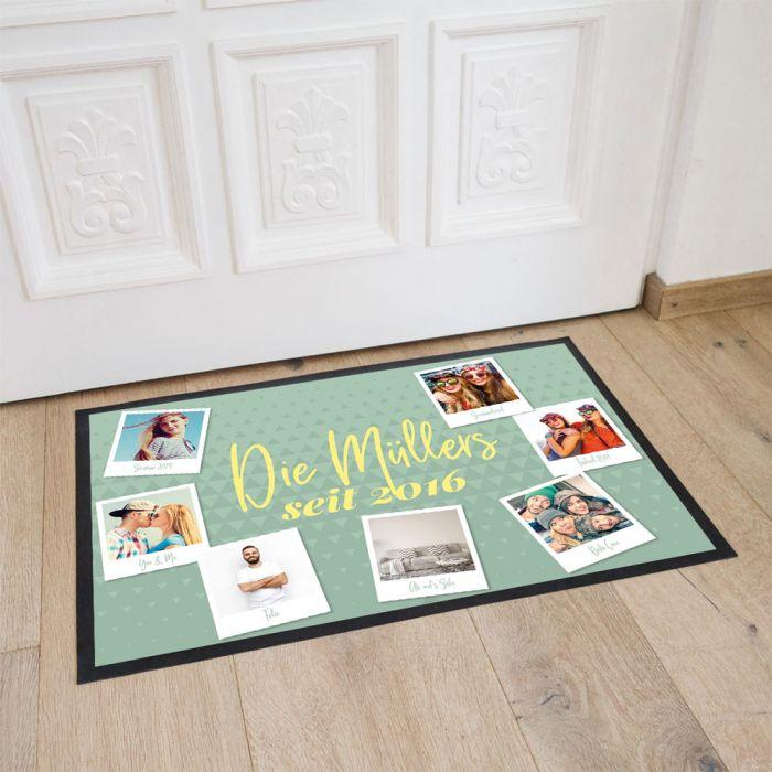 Personalisierbare Fußmatte mit 7 Bildern und Text
