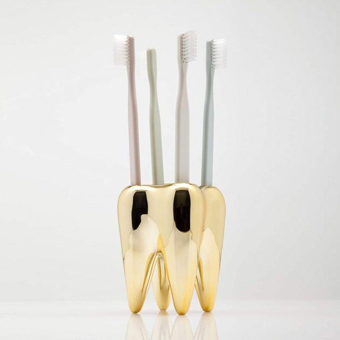 Zahnbürstenhalter Zahn in Gold