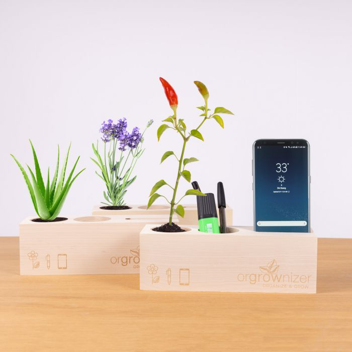 Orgrownizer - Schreibtisch-Organizer mit Pflanze