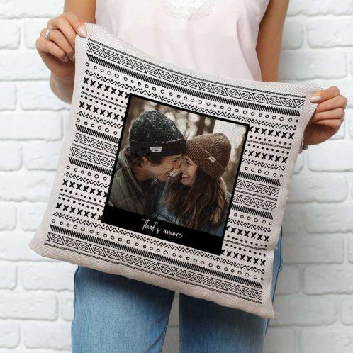 Personalisierbarer Kissenbezug mit Foto und Text
