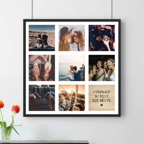 Personalisierbares Foto-Poster mit 8 Bildern und Text