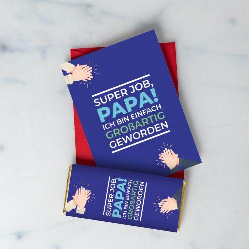 Super Job Karte und Schokolade für Papa