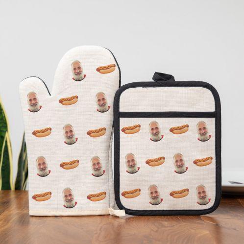 Ofenhandschuh & Topflappen Set mit Gesicht