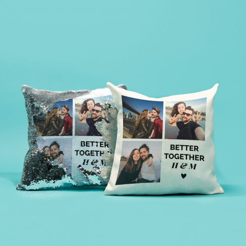 Personalisierbarer Kissenbezug mit 3 Bildern und Text
