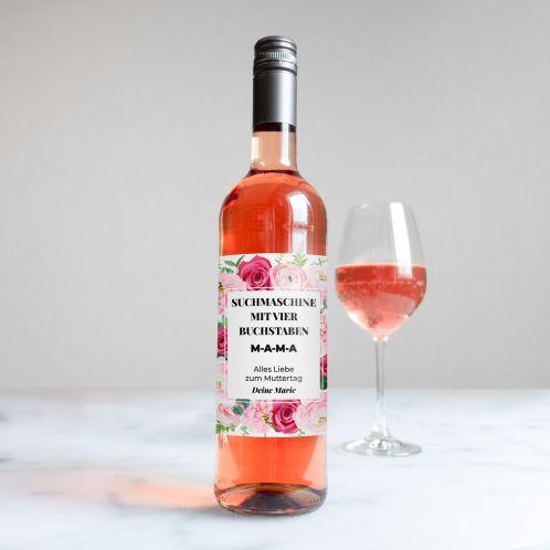 Rosé Wein im Rosen-Design mit Text