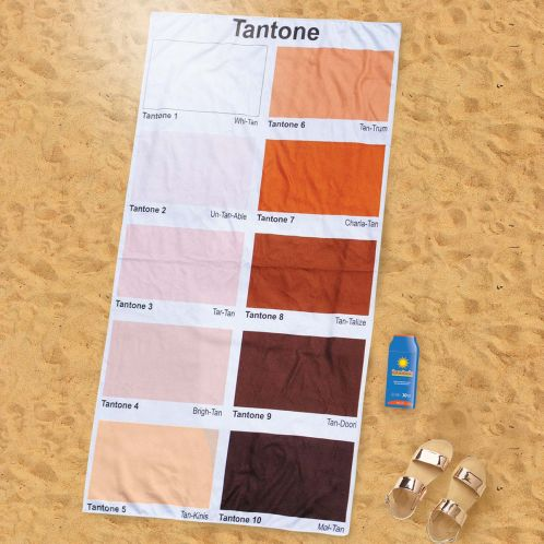 Strandtuch mit Bräunungs-Farbtabelle
