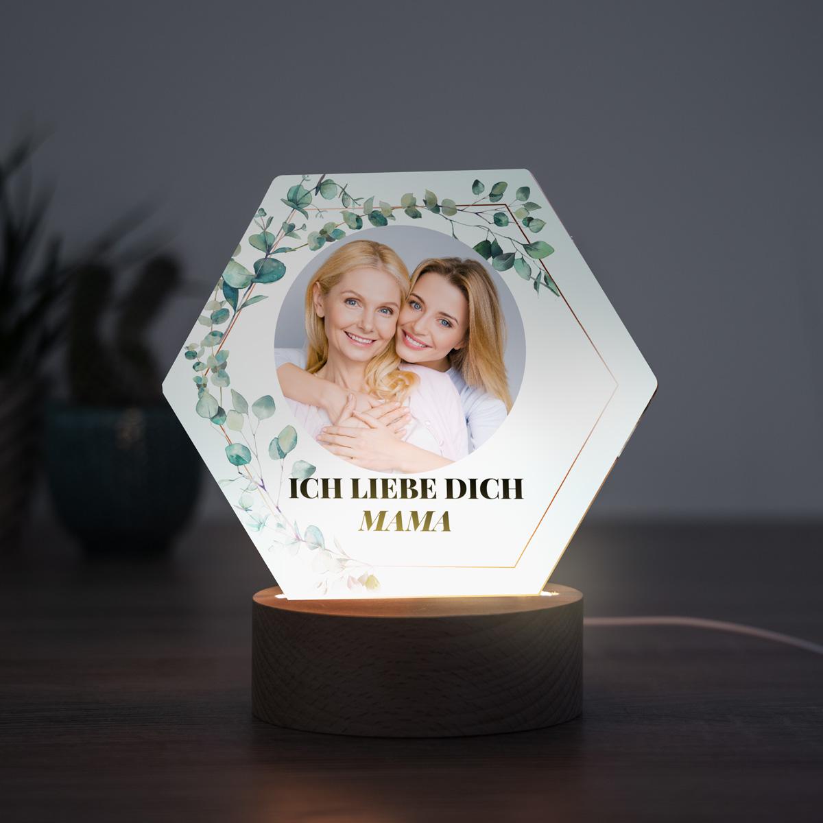 Muttertagsgeschenke LED-Leuchte Blätter mit Bild und Text