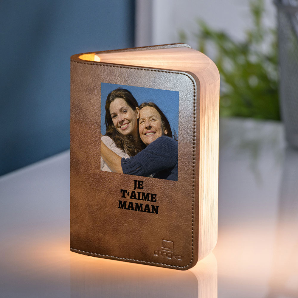 cadeau maman Lampe Livre avec Photo et Texte