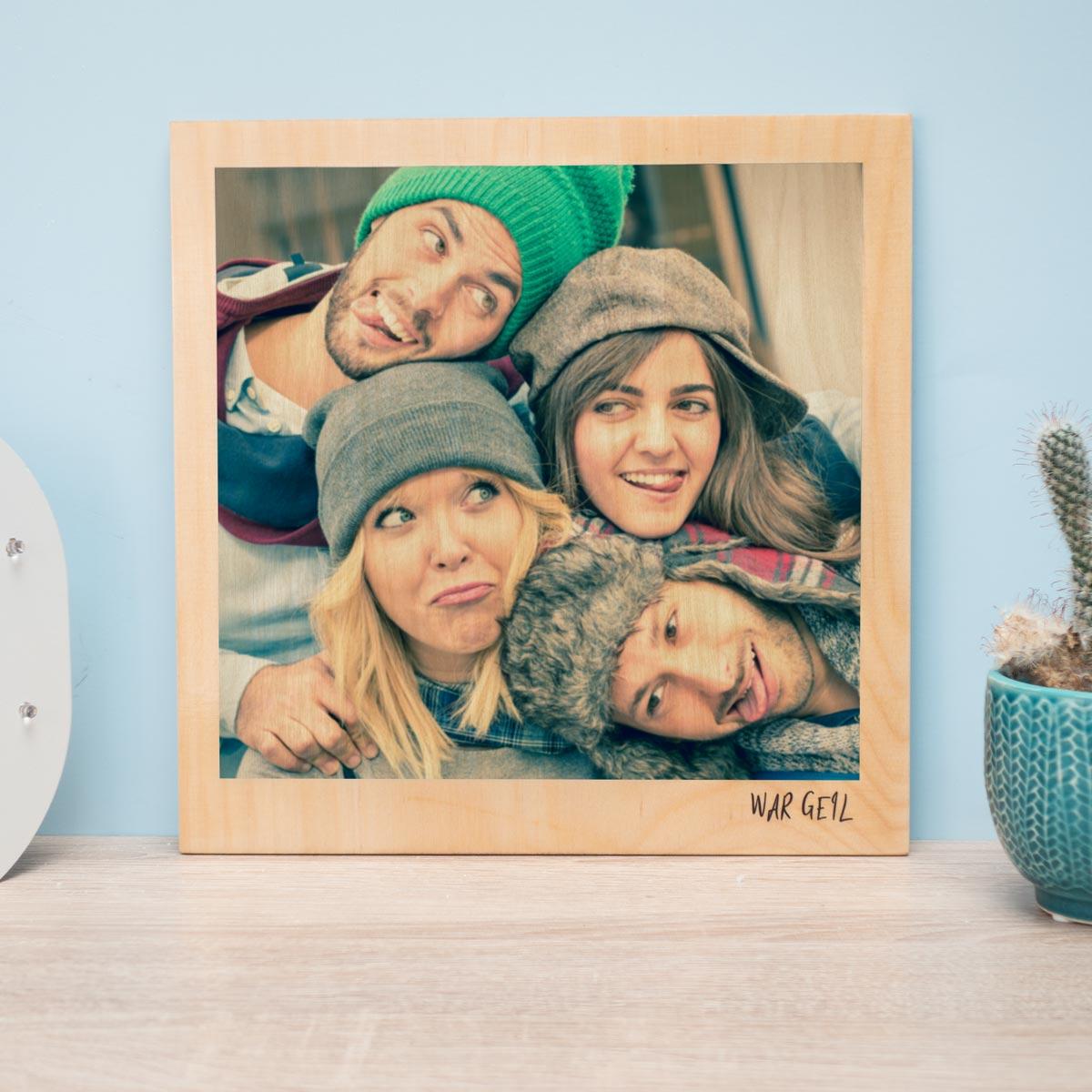 Weihnachtsgeschenke personalisierbares holzbild im polaroid look mit foto und text
