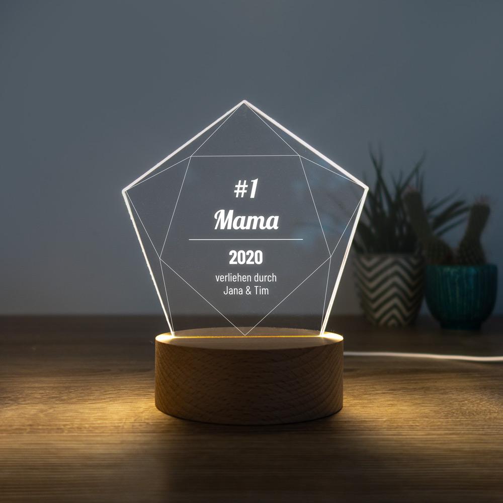 Geschenke für Mama personalisierbare LED Leuchte mit Gravur