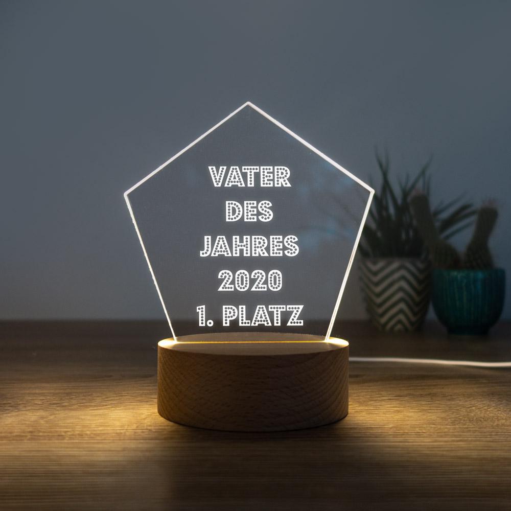Vatertagsgeschenke personalisierbare LED Leuchte mit Stern