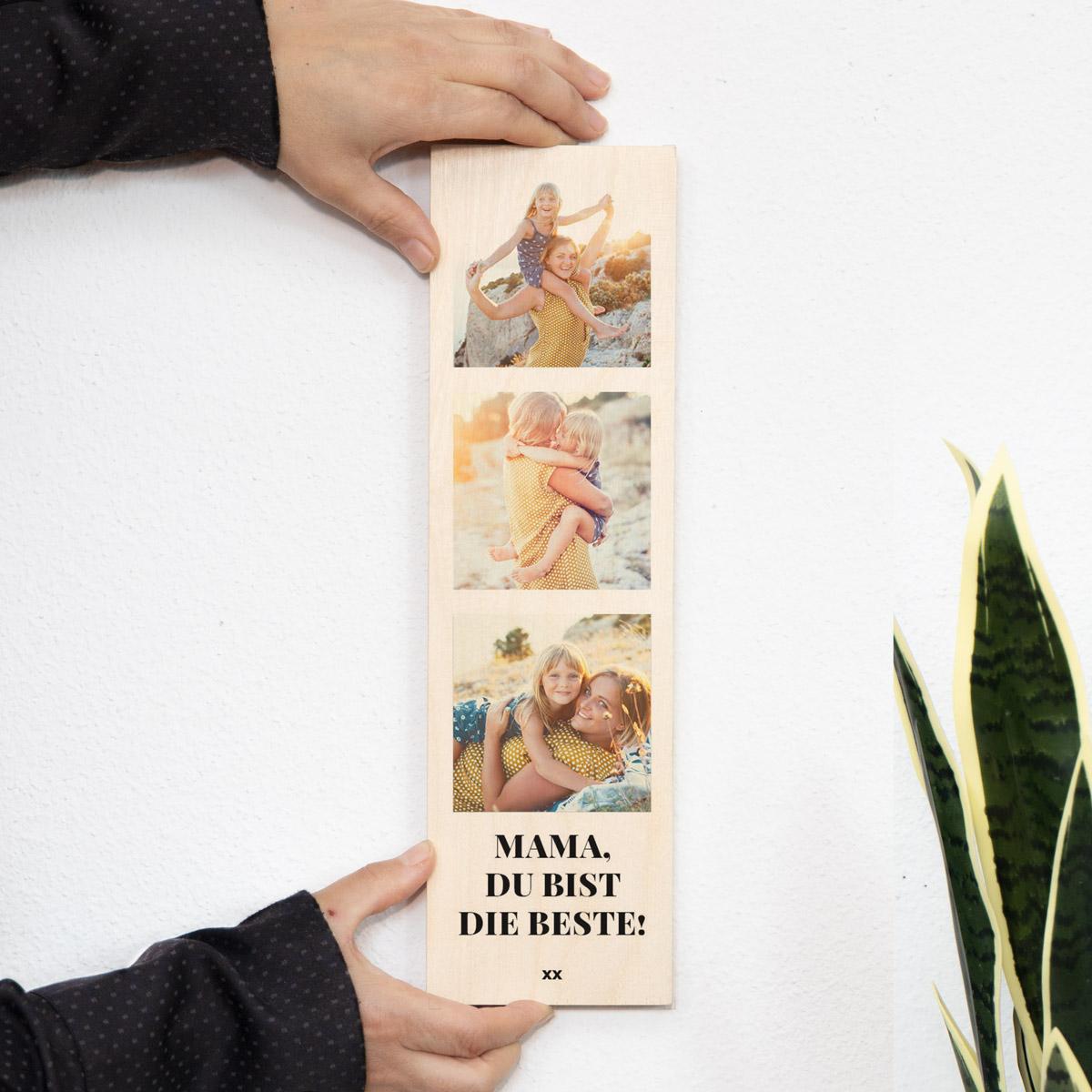 Geschenke für Mama personalisierbares Holzbild mit drei Fotos