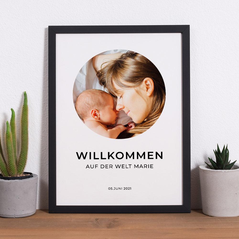 Geschenke für Mama Poster mit Bild und 3 Zeilen Text
