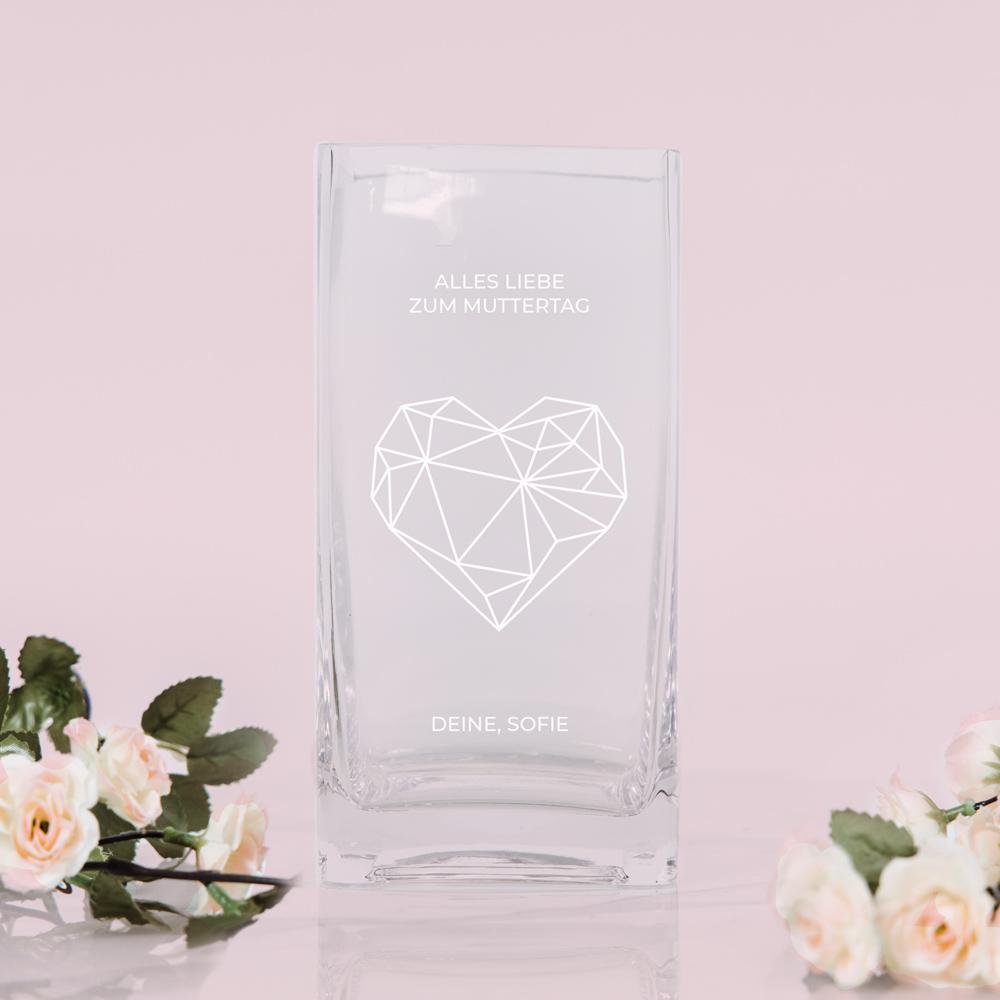 Geschenke für Mama Vase mit Herz und Text