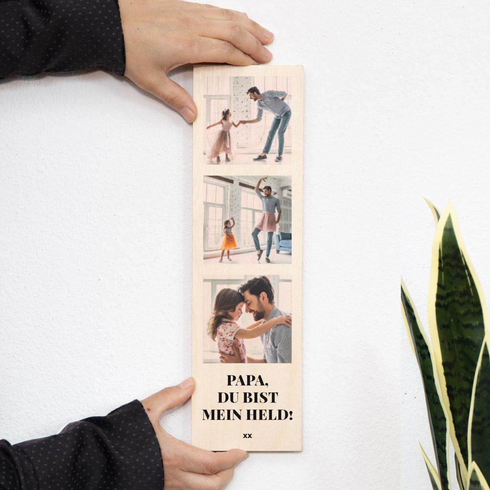 Geschenke für Papa Schmales Holzbild mit 3 Bildern und Text