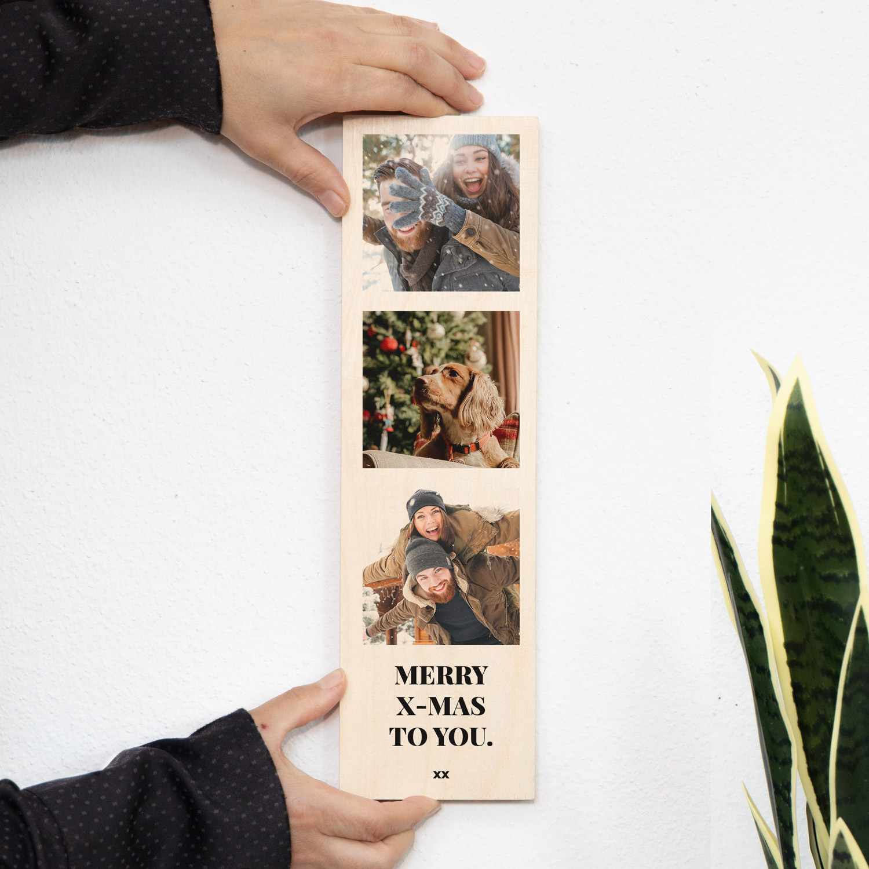 Weihnachtsgeschenke Holzbild mit drei Fotos