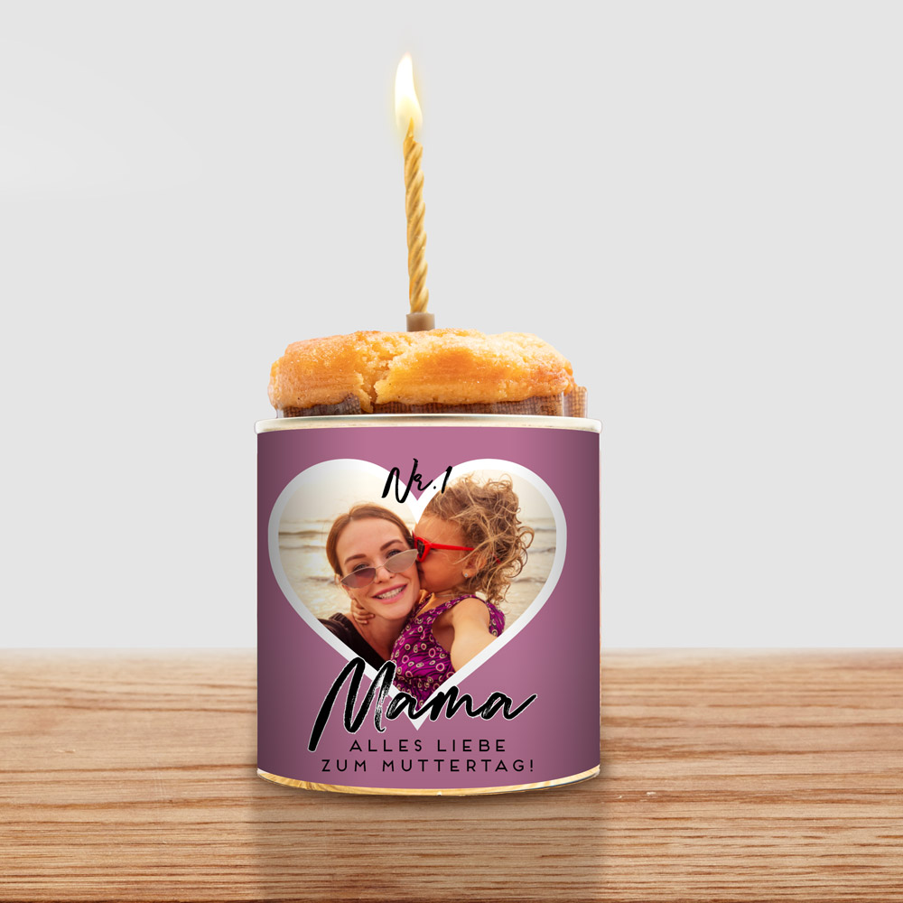Geschenke für Mama Cancake mit Herz und Text