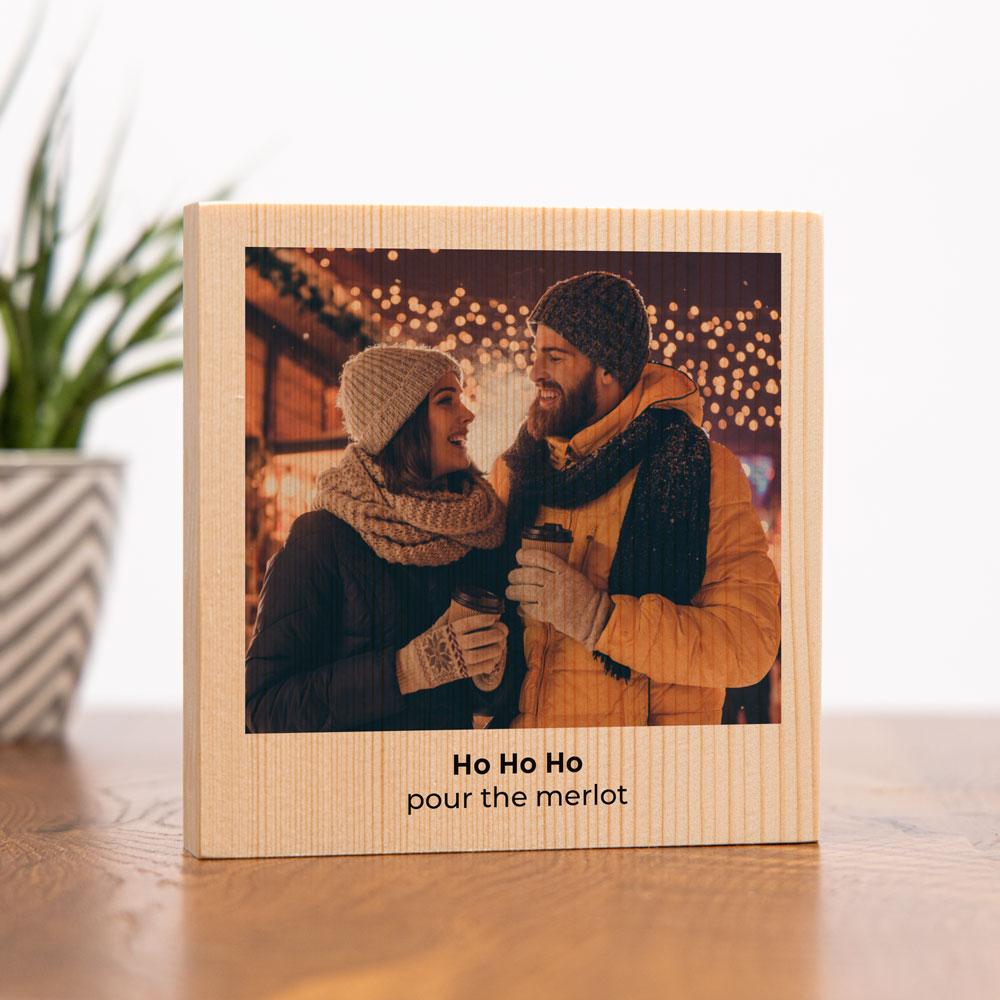 Geschenk für Freundin personalisierbares Holzbild mit Bild und Text