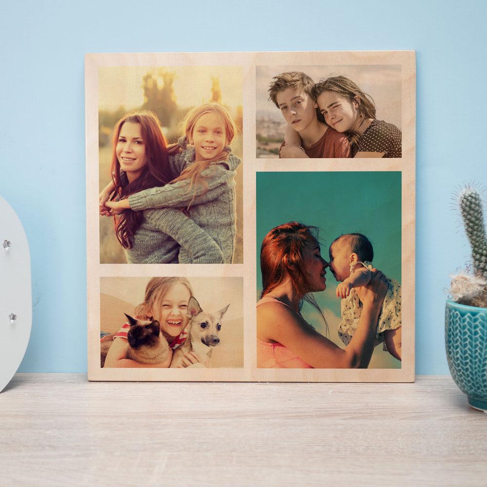 Geschenke für Mama personalisierbares Holzbild mit Fotos