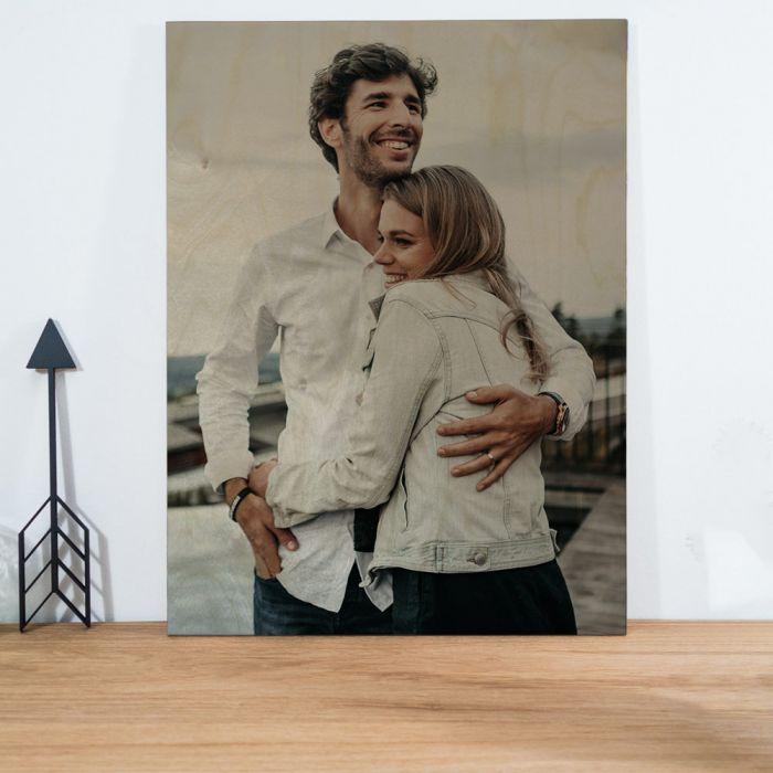 Hochzeitsgeschenke personalisierbares Holzbild mit Foto zur Hochzeit