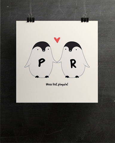 Pinguïn paar - Personaliseerbare poster