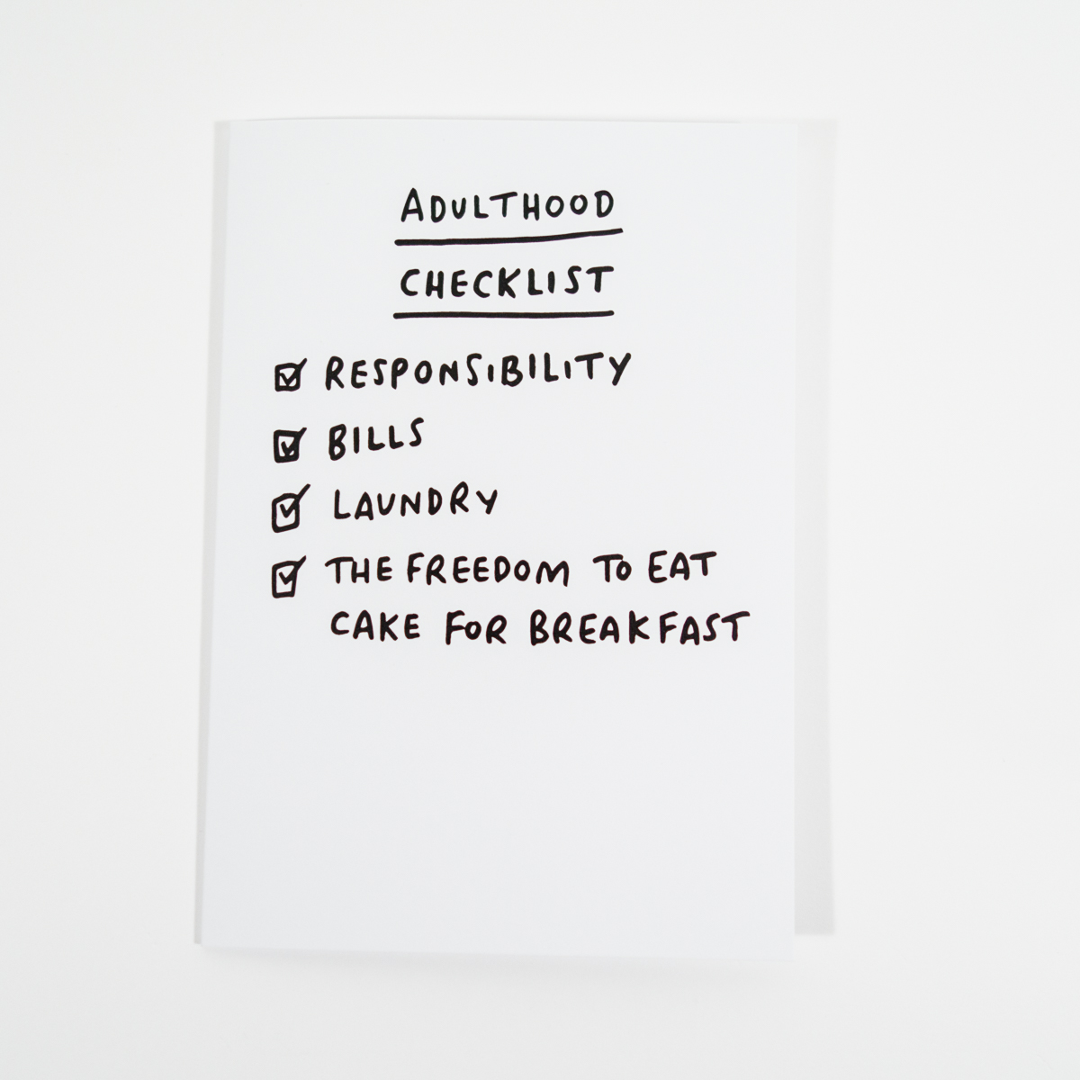 Grußkarte Adulthood Checklist