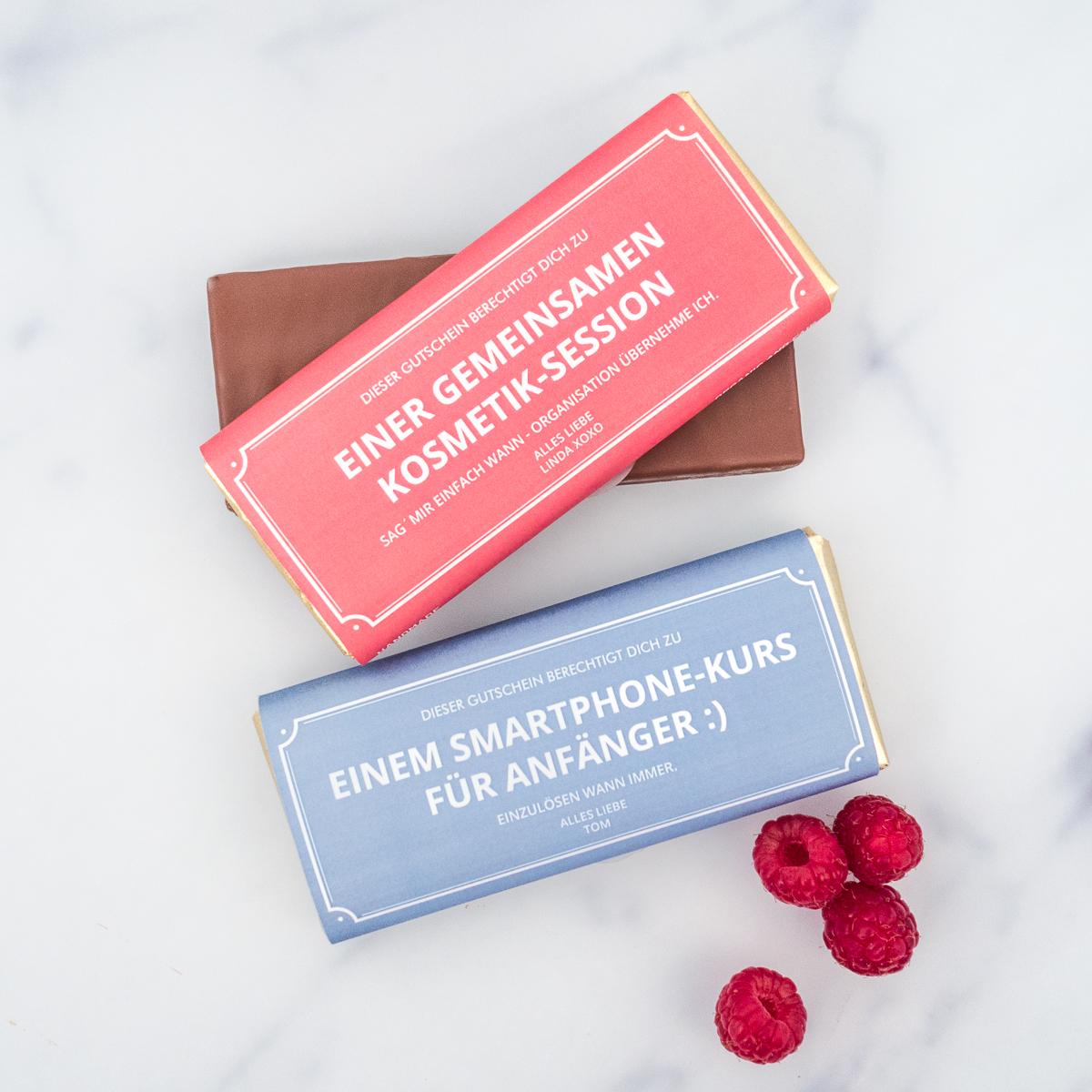 Personalisierbarer Gutschein mit Schokolade