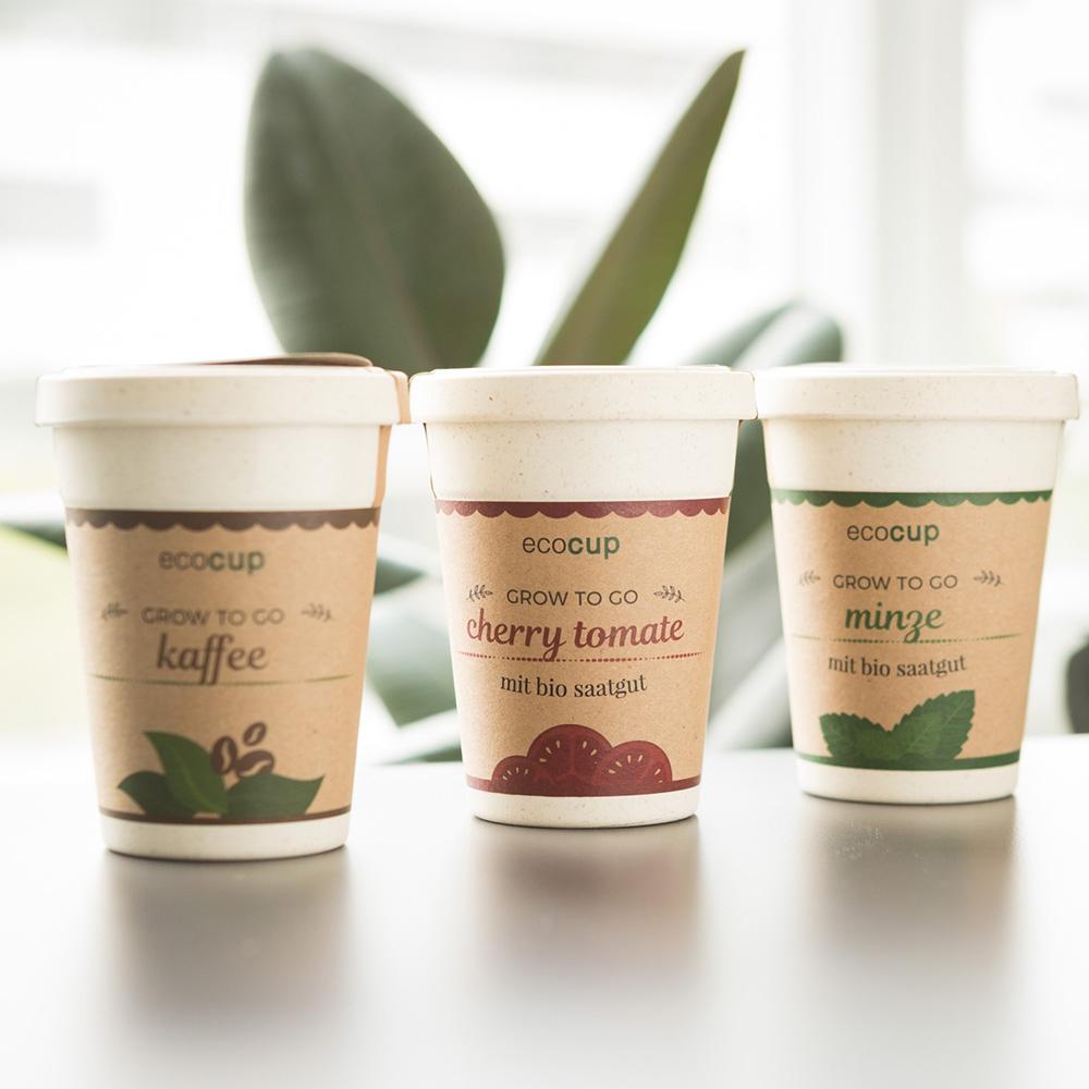ecocup Pflanzen im Kaffeebecher Kaffee
