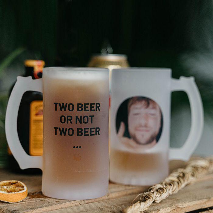 Personalisierbarer Bierkrug mit Foto und Text