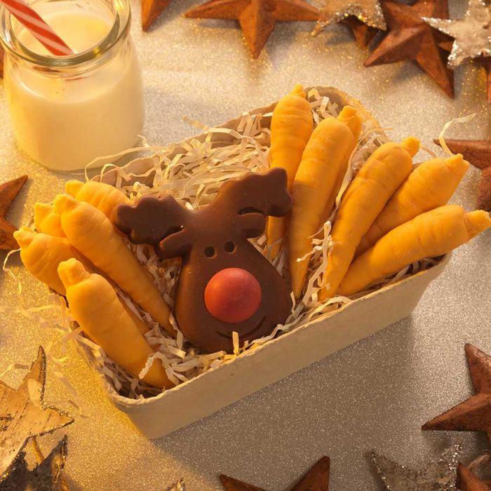 Rentier und Möhren aus Schokolade