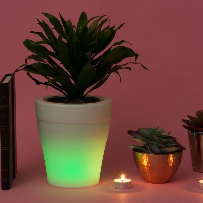Beleuchteter Blumentopf mit Farbwechsel