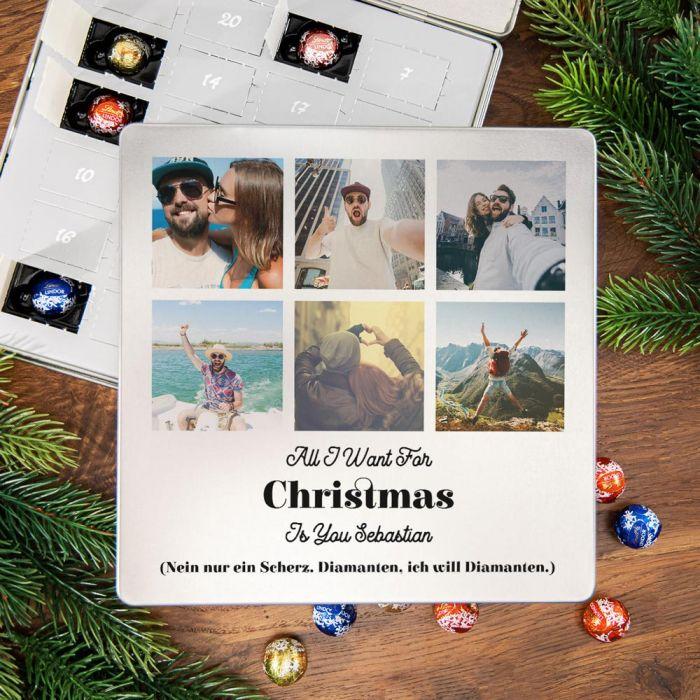Adventskalender - Pralinen Metallbox mit 6 Bildern und Text