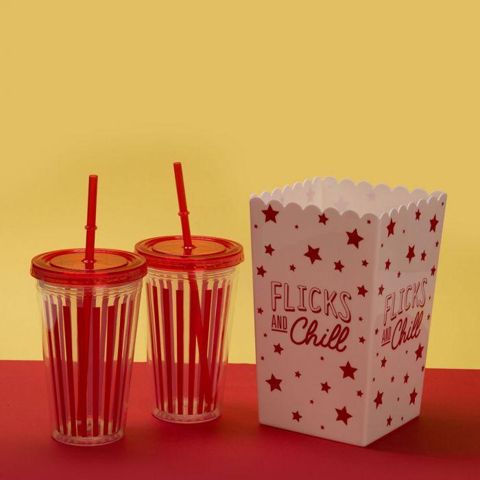 Kino-Set mit Popcorn-Eimer und Trinkbecher